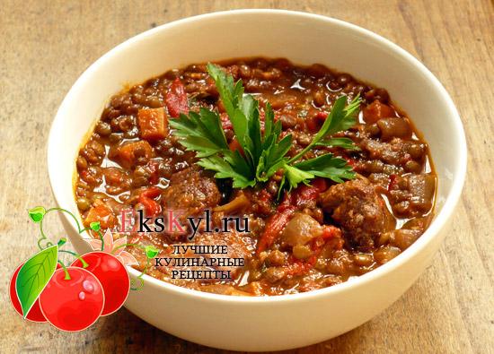 Рецепт чечевица-в-мультиваркес мясом