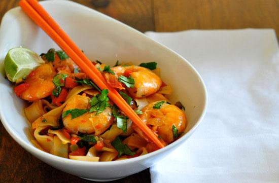 Рецепт рисовой лапши с креветками