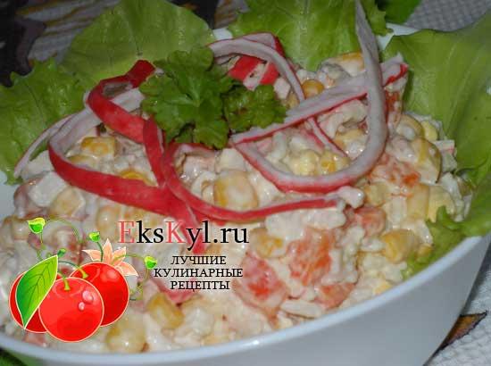 Салат с крабовыми палочками классический