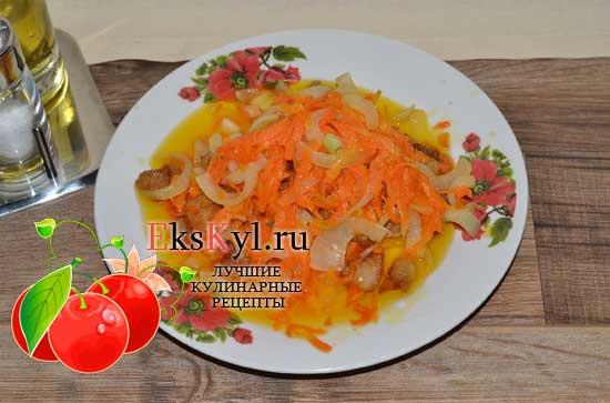 овощи  переложить в тарелку