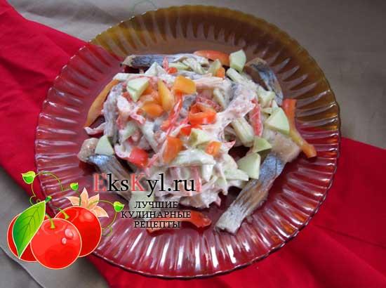 Салат с селедкой, рецепт приготовления