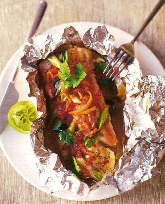 Рецепт рыбы, запеченной в духовке с овощами