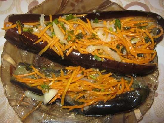 Баклажаны, фаршированные морковью по-корейски
