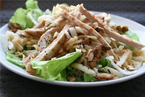 рецепт салатов с фасолью грудкой шампиньонами