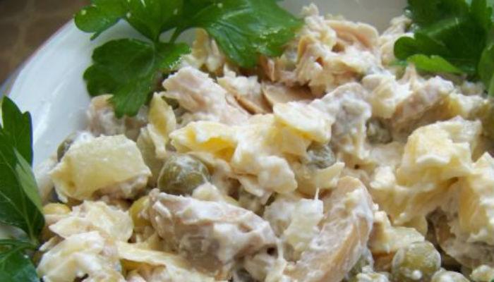 Салат нежность с шампиньонами и курицей рецепт
