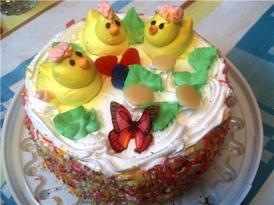 новогодний торт цыплята