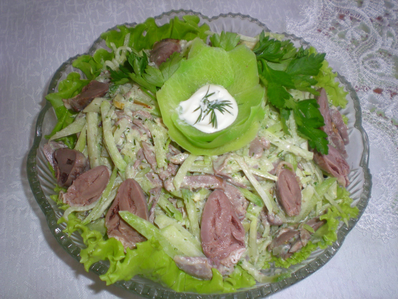 Куриные сердечки салат рецепт слоями