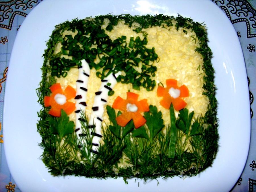 салат березка с куриным филе и черносливом