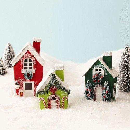 Игрушки новогодние домики своими руками