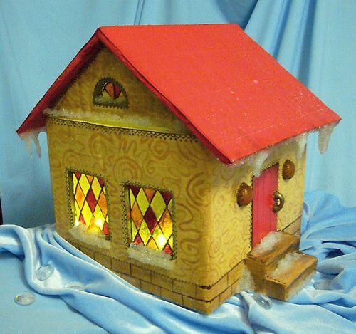 Как сделать домик из картона своими руками новогодний